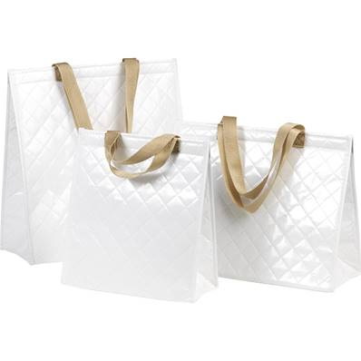 Sac grand isotherme rectangle blanc 2 anses nylon/fermeture scratch