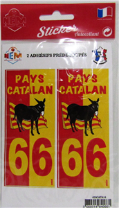 Sticker x2 âne drapeau 66 pays Catalan
